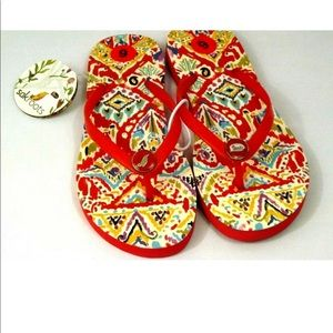 Sakroots Brave Beauti Flip Flops Red Size 6 NWT
